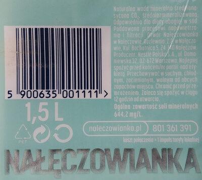 Woda mineralna średnionasycona CO2, średnio mineralizowana - Składniki