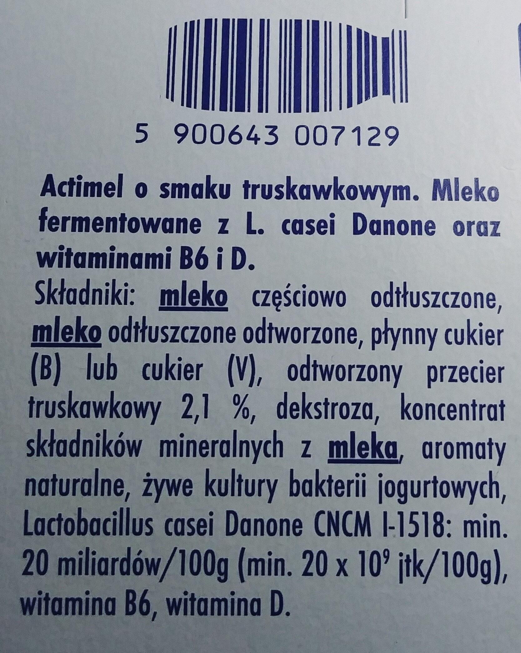 Mleko fermentowane z L. casei Danone oraz witaminami B6 i D. - Składniki - pl