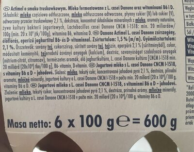 Actimel fraise - Wartości odżywcze - pl