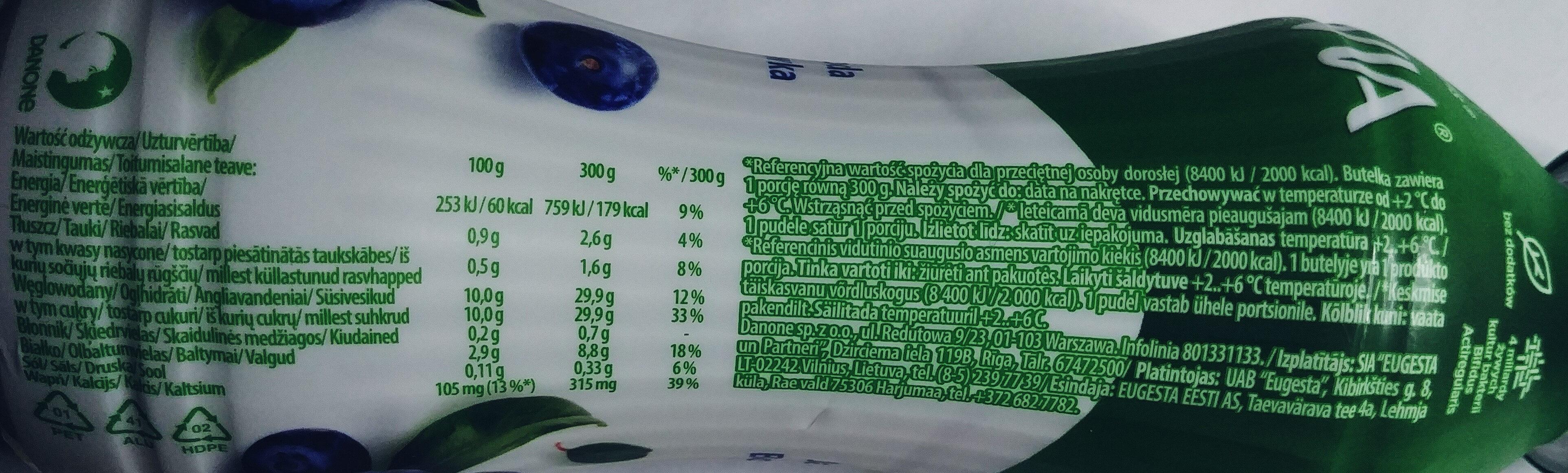 Jogurt o smaku jagody - borówki amerykańskiej ze szczepem bakterii ActiRegularis - Nutrition facts