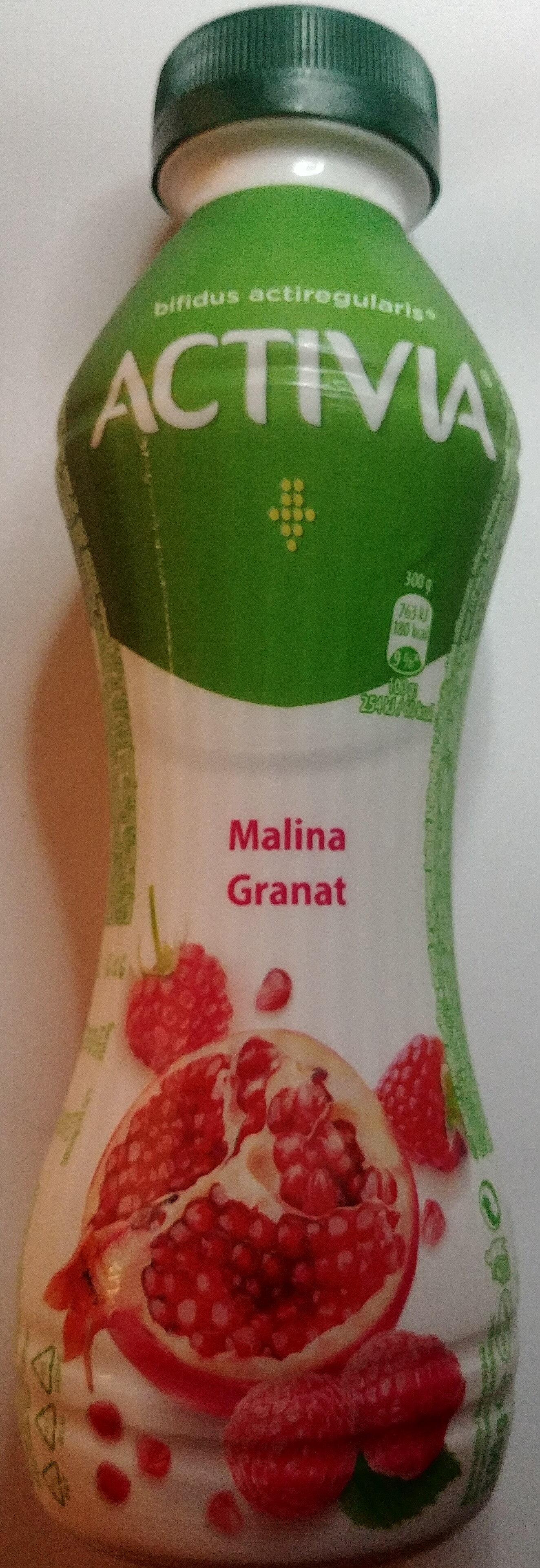 Jogurt o smaku malina-granat ze szczepem bakterii ActiRegularis - Produkt