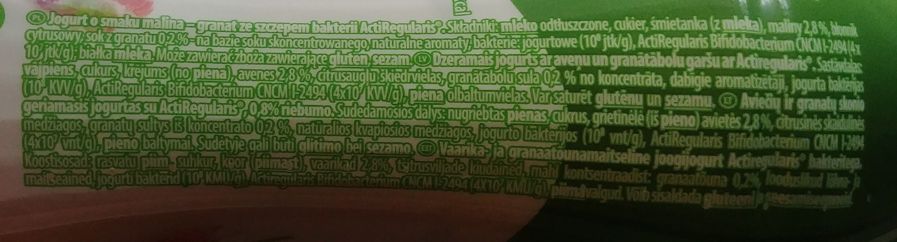 Jogurt o smaku malina-granat ze szczepem bakterii ActiRegularis - Składniki