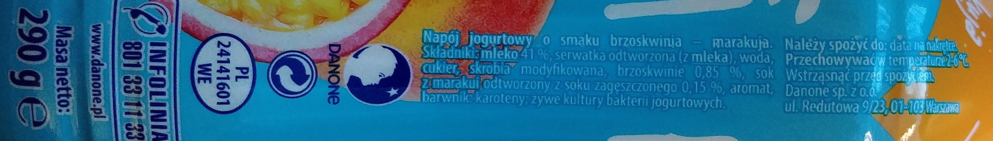 Napój jogurtowy o smaku brzoskwinia-marakuja - Ingrediënten - pl