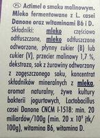 Actimel o smaku malinowym - Składniki - pl