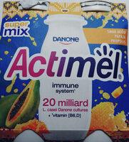 Mleko fermentowane z L. casei Danone oraz witaminami B6 i D. Actimel o smaku papaja-miód-propolis. - Produkt