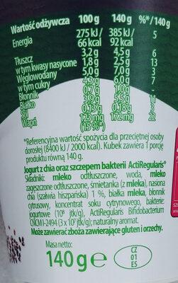 Jogurt Chia - Składniki - pl