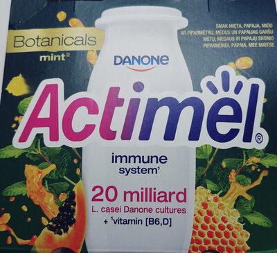 Mleko fermentowane z L. casei Danone oraz witaminami B6 i D. Actimel o smaku papaja-miód-mięta. - Produkt - pl