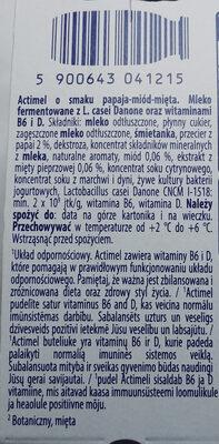 Mleko fermentowane z L. casei Danone oraz witaminami B6 i D. Actimel o smaku papaja-miód-mięta. - Składniki - pl