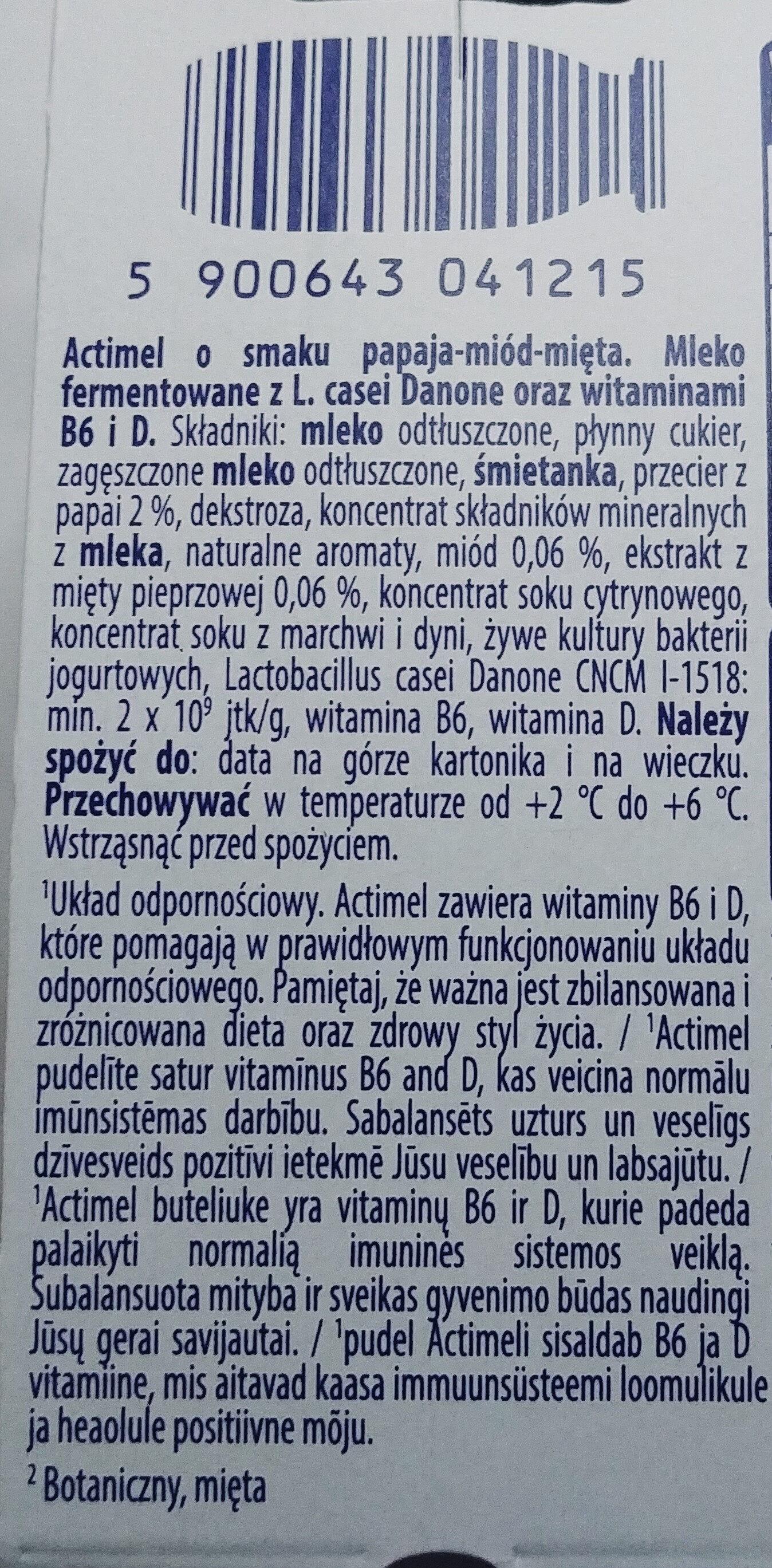 Mleko fermentowane z L. casei Danone oraz witaminami B6 i D. Actimel o smaku papaja-miód-mięta. - Składniki