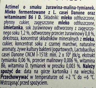 Actimel o smaku żurawina-malina-tymianek - Składniki