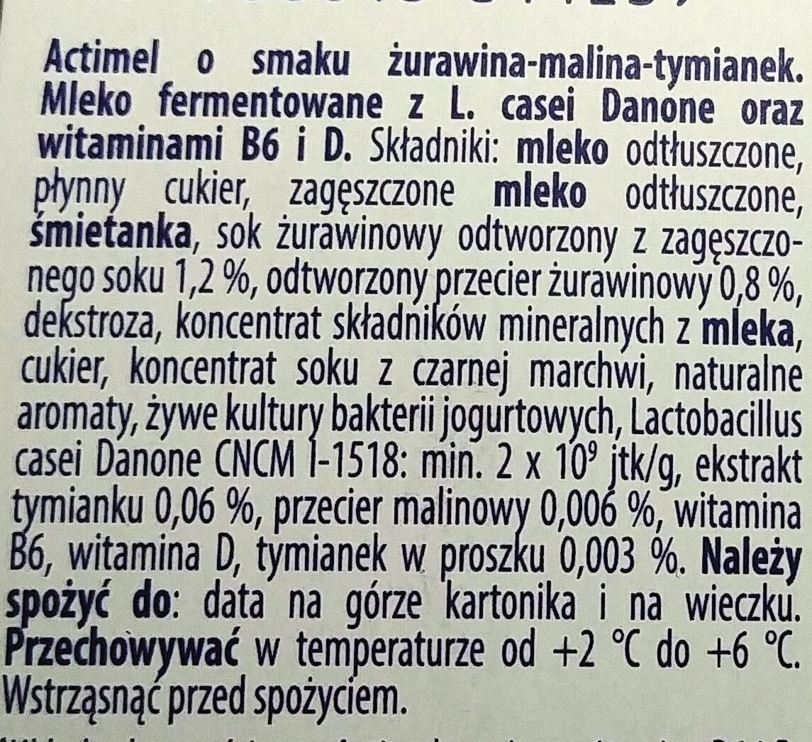 Actimel o smaku żurawina-malina-tymianek - Składniki - pl