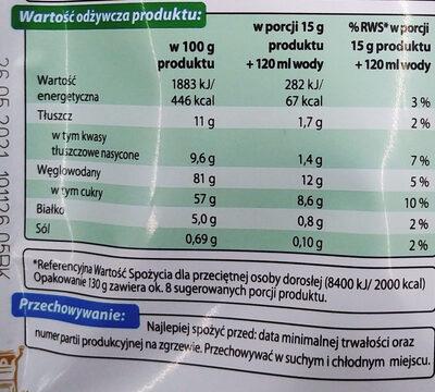 Rozpuszczalny napój kawowy o smaku śmietankowym - Wartości odżywcze