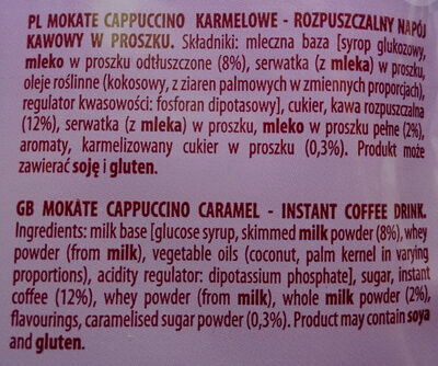 Cappuccino karmelowe - Ingredients