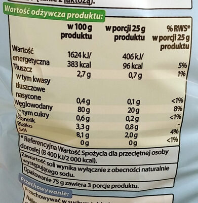 Chrupki kukurydziane - Wartości odżywcze - pl