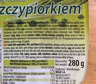 Salatka warzywna ze szczypiorkiem - Nutrition facts - pl