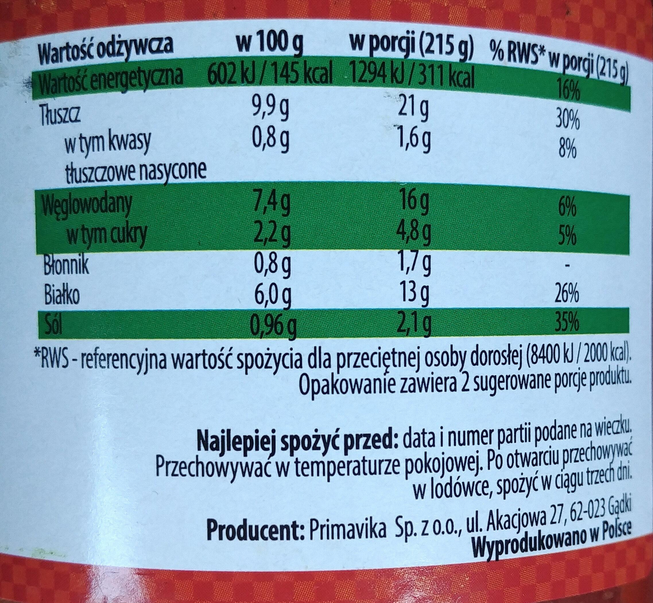 Pszenne pulpety wegetariańskie w sosie pomidorowym - Wartości odżywcze - pl