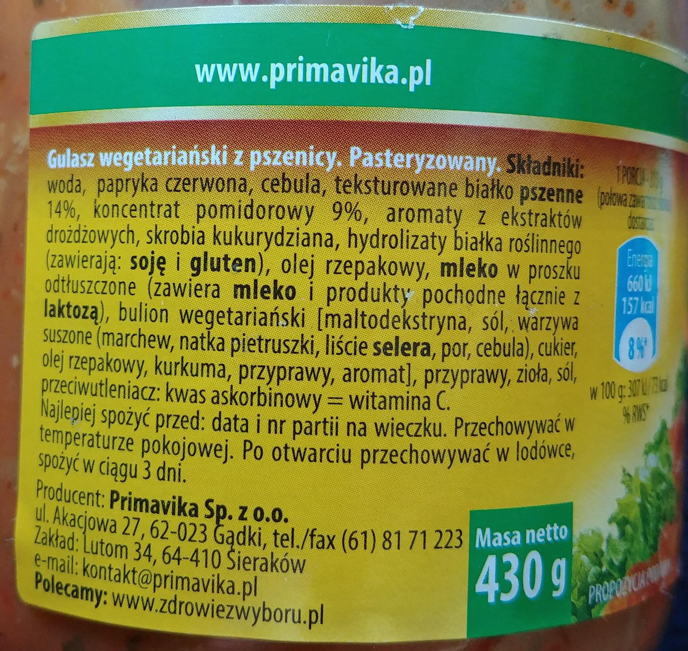 Gulasz wegetariański z pszenicy - Składniki - pl