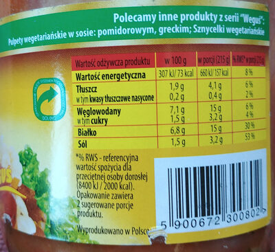 Gulasz wegetariański z pszenicy - Wartości odżywcze - pl
