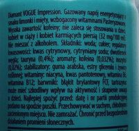 Impression energy drink - Składniki - pl