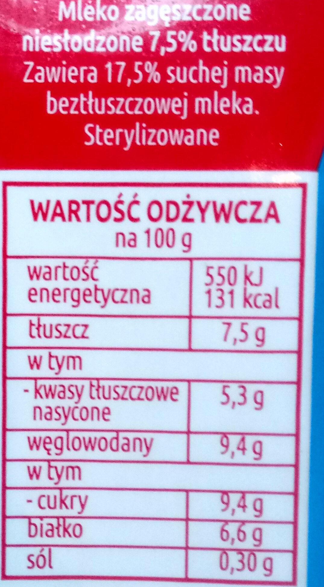 Mleko zagęszczone niesłodzone 7,5% tłuszczu - Wartości odżywcze - pl