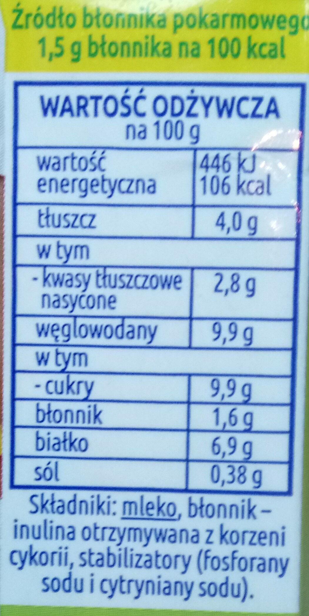 Mleko zagęszczone niesłodzone częściowo odtłuszczone z błonnikiem - Wartości odżywcze - pl
