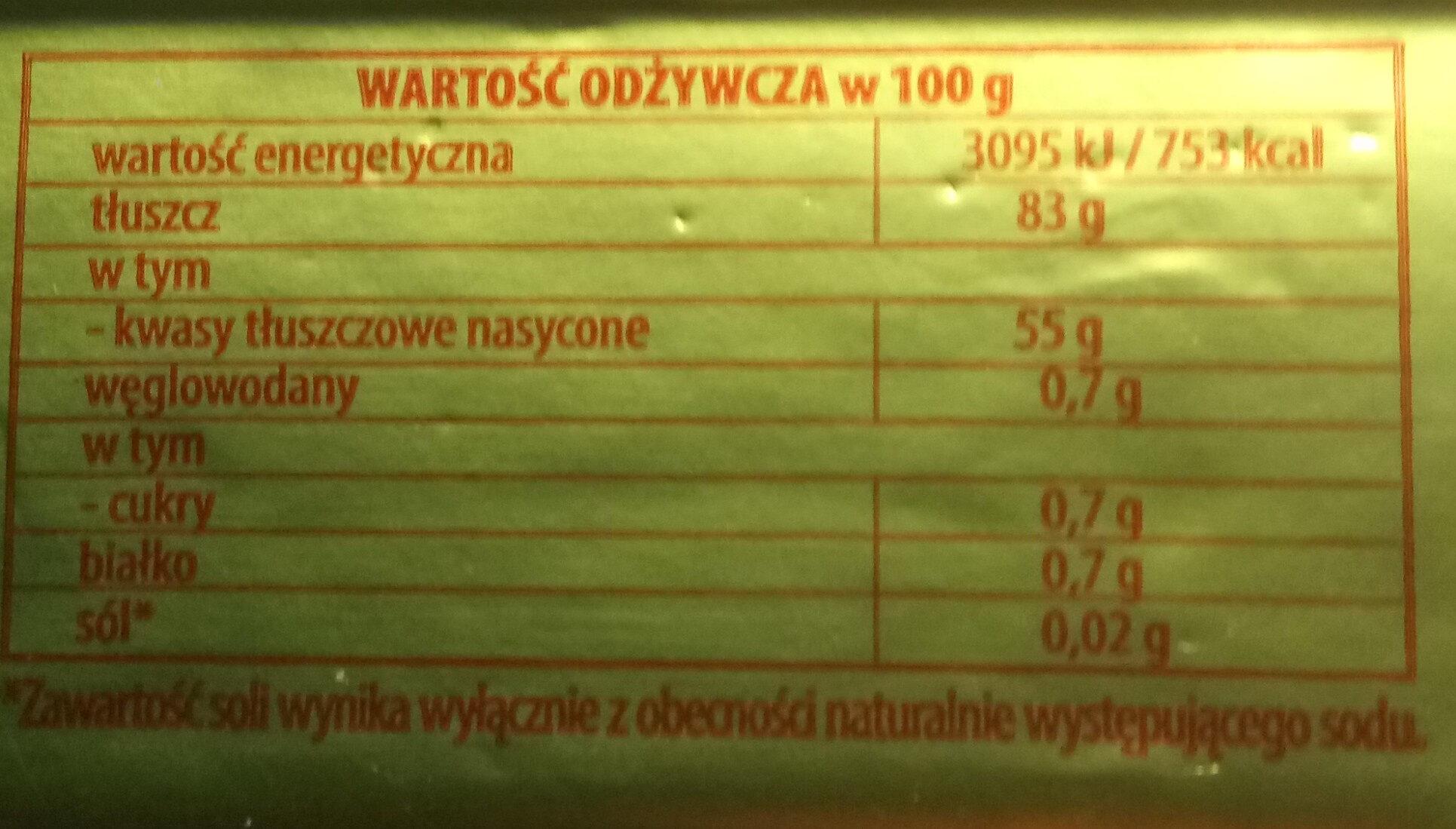 Masło Gostyńskie Ekstra - Wartości odżywcze - pl