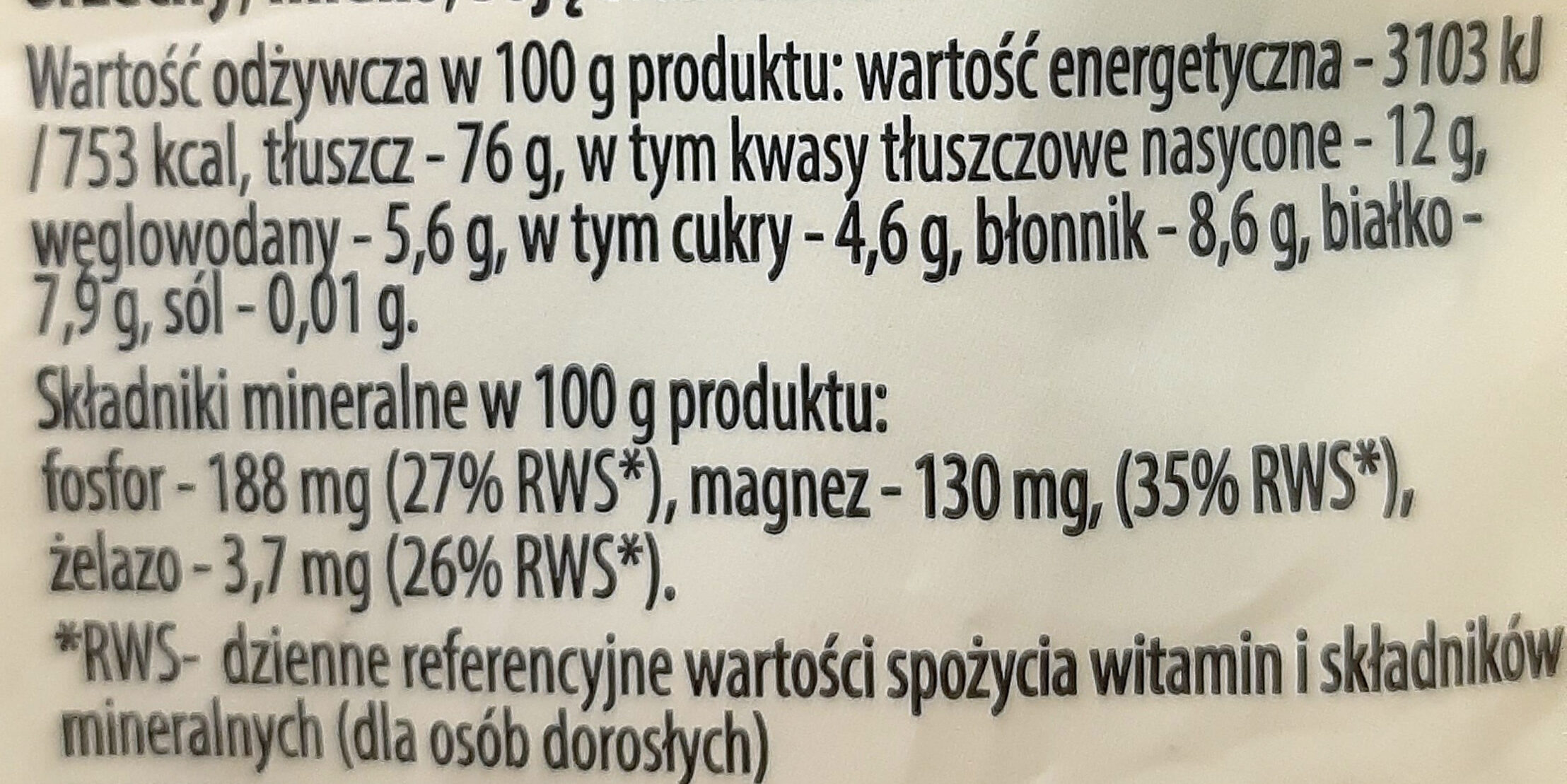 Orzechy makadamia łuskane - Nutrition facts - pl