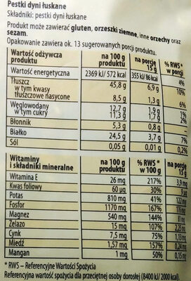 Pestki dyni - Voedingswaarden - pl