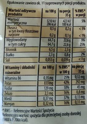Rodzynki luksusowe - Wartości odżywcze - pl