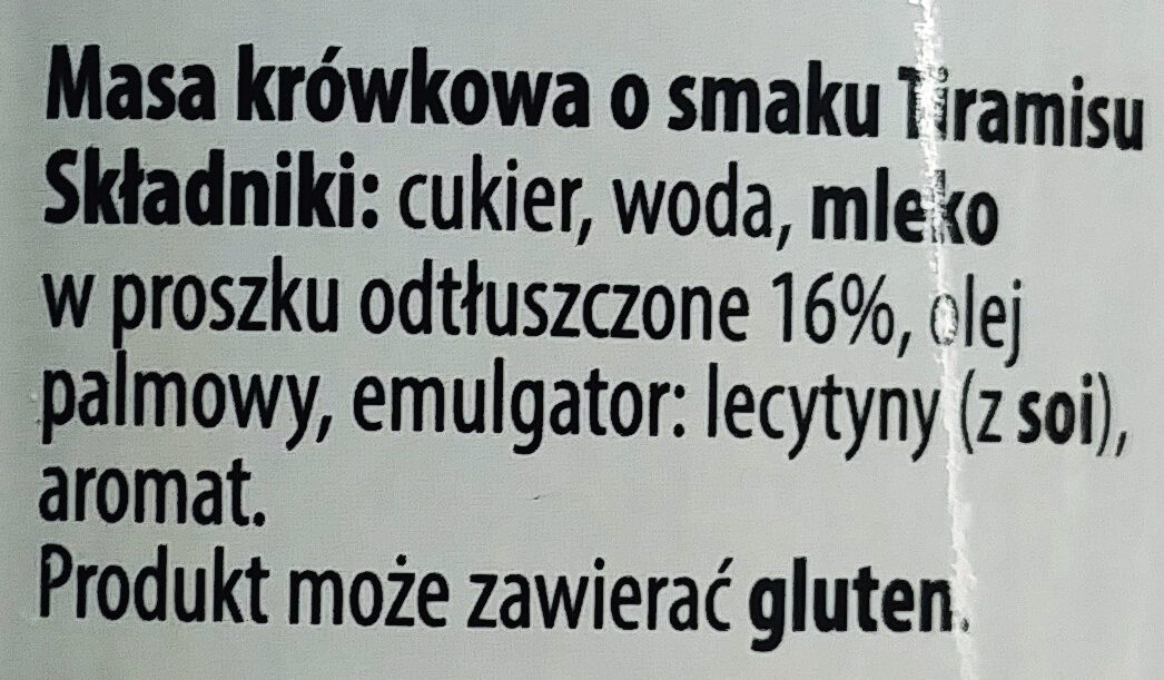 Kajmak - Masa krówkowa o smaku Tiramisu - Ingrediënten - pl