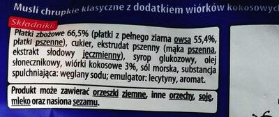 Musli chrupkie klasyczne z dodatkiem wiórków kokosowych - Ingrédients - pl