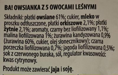 Owsianka z 5 owocami leśnymi - Ingredients - pl
