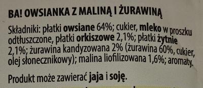 Owsianka z maliną i żurawiną - Ingrediënten - pl