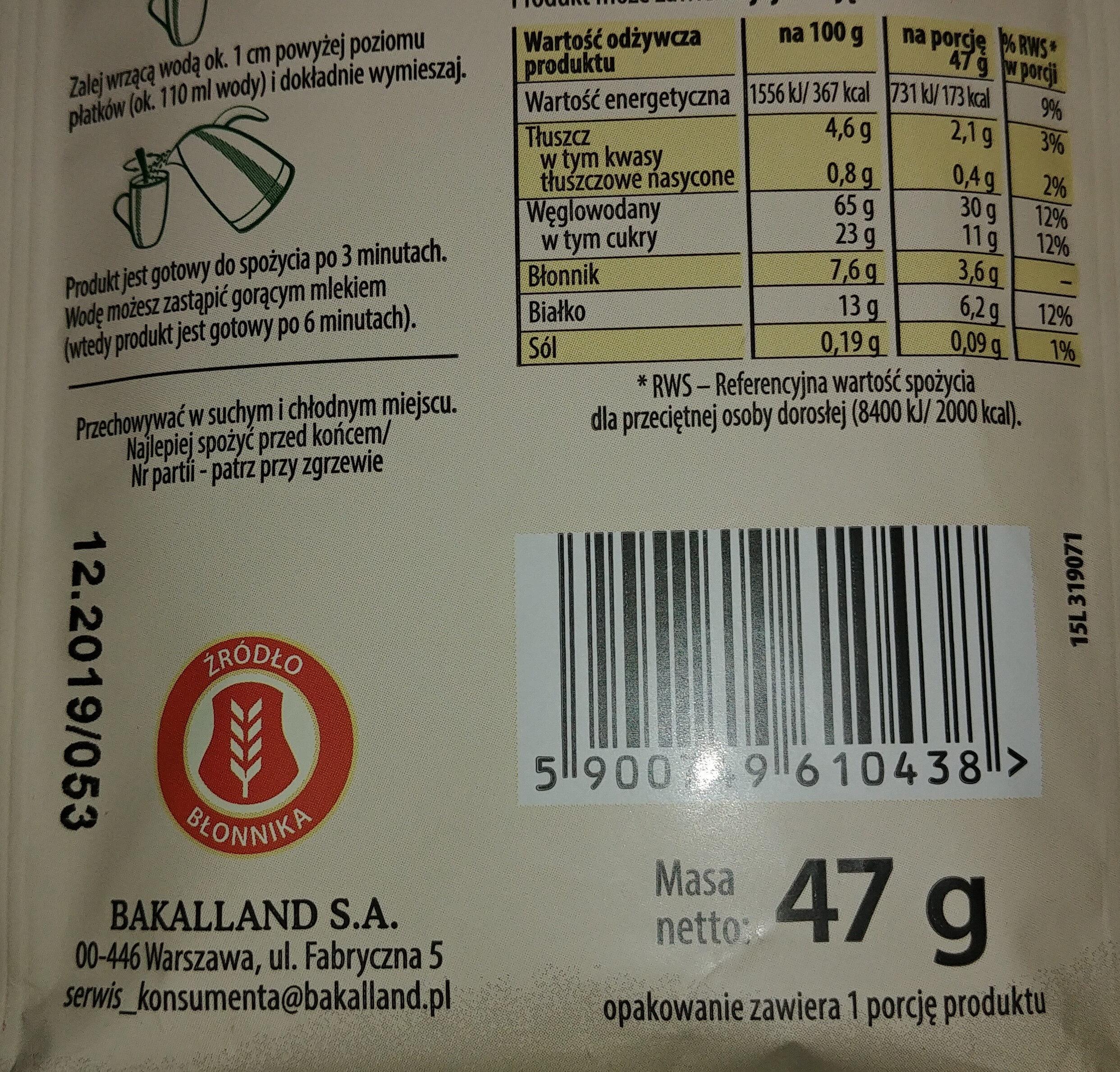 Owsianka z maliną i żurawiną - Voedingswaarden - pl