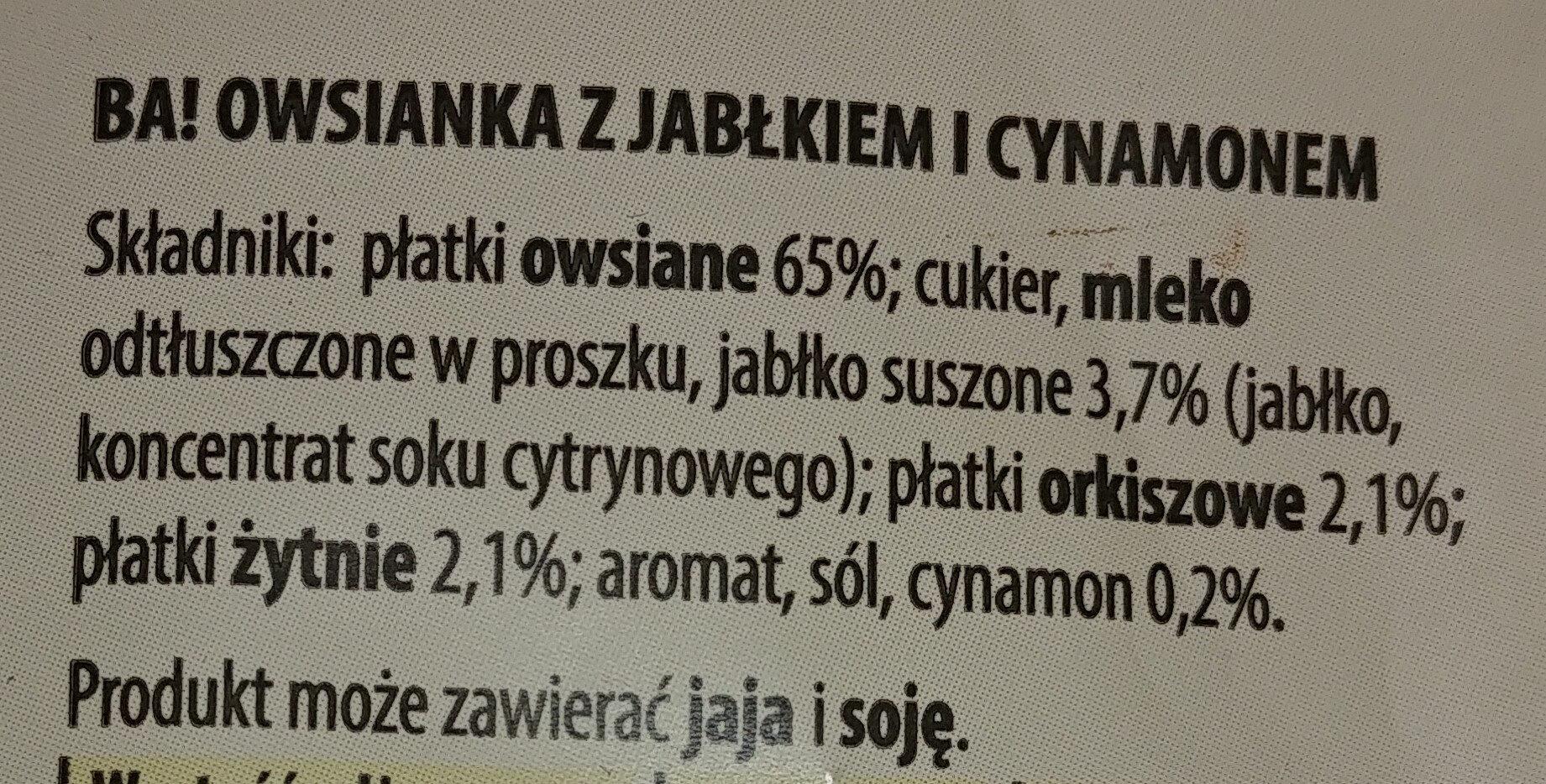 Owsianka z jabłkiem i cynamonem - Ingredients - pl