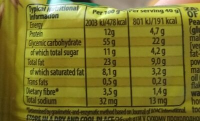 Ba! 5 Nuts Energy Bar 40G - Informations nutritionnelles - fr