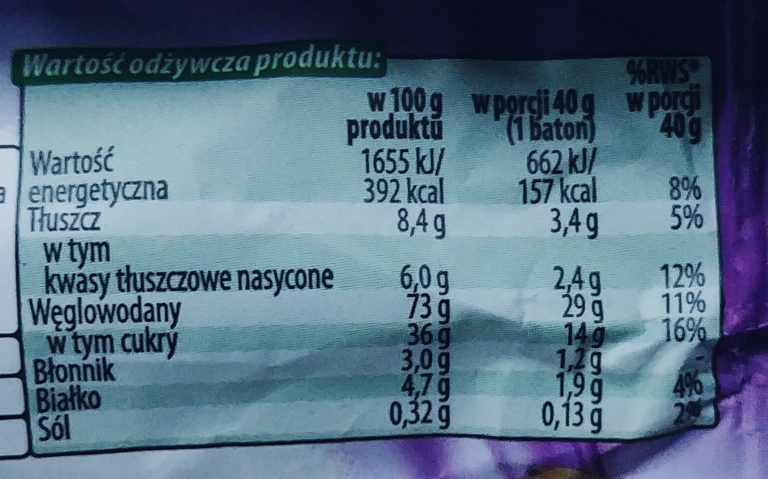 Baton zbożowy ze śliwkami i polewą o smaku kakaowo-mlecznym. - Wartości odżywcze - pl