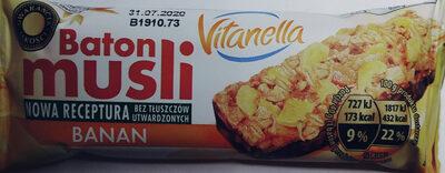 Baton zbożowy z bananami i polewą o smaku kakaowo-mlecznym. - Product