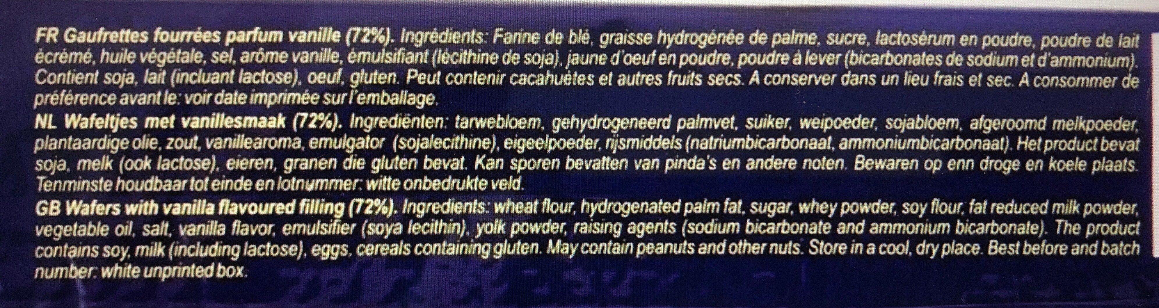 Gaufrettes Fourrées Parfum Vanille - Ingredienti - fr