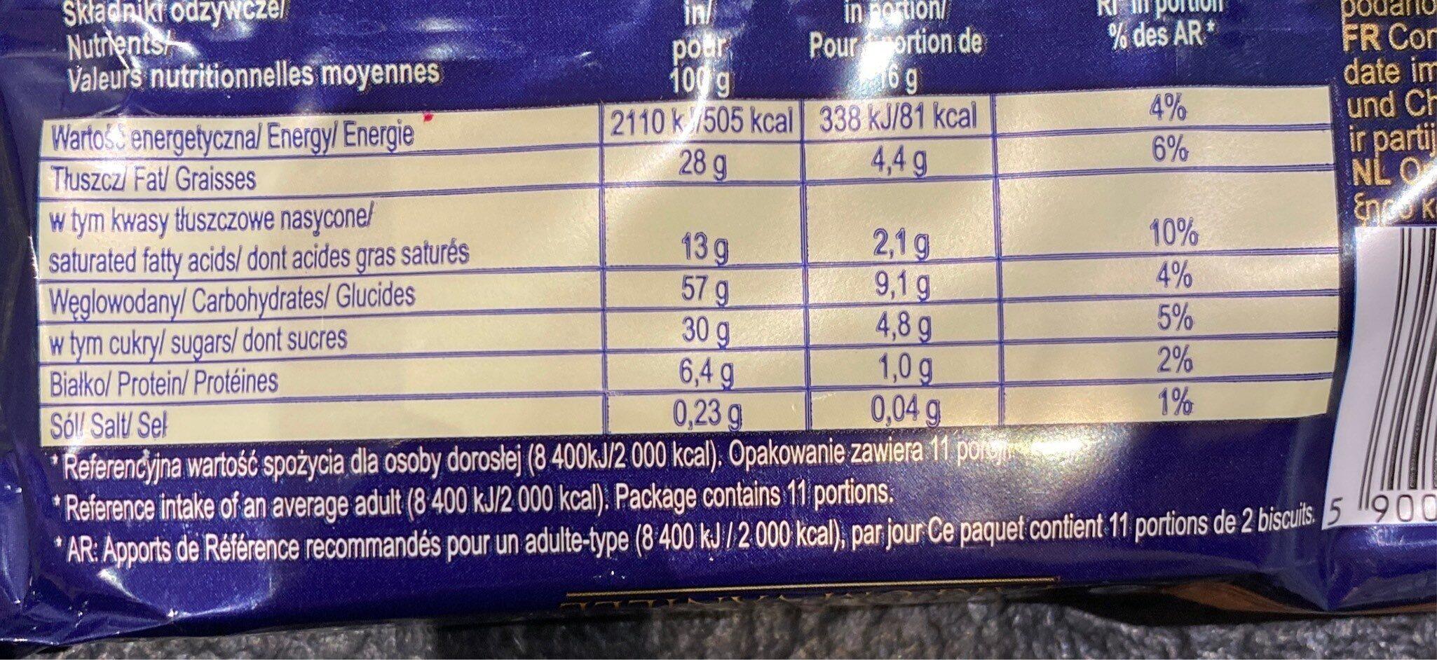 Gaufrettes Fourrées Parfum Vanille - Valori nutrizionali - fr