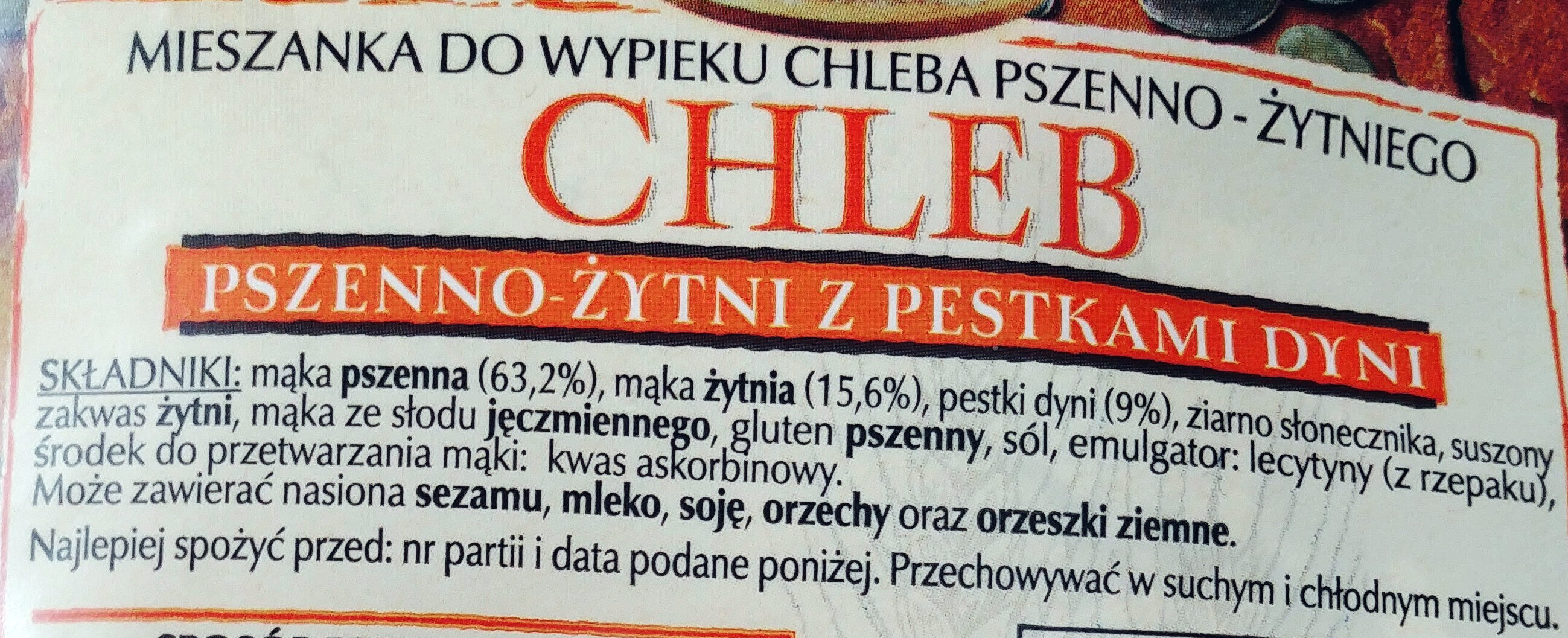 Mieszanka do wypieku chleba pszenno-żytniego. Chleb pszenno-żytni z pestkami dyni. - Składniki - pl