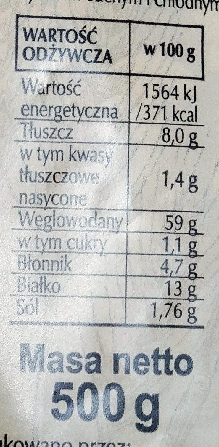 Mieszanka do wypieku chleba pszenno-żytniego. Chleb pszenno-żytni z pestkami dyni. - Nutrition facts