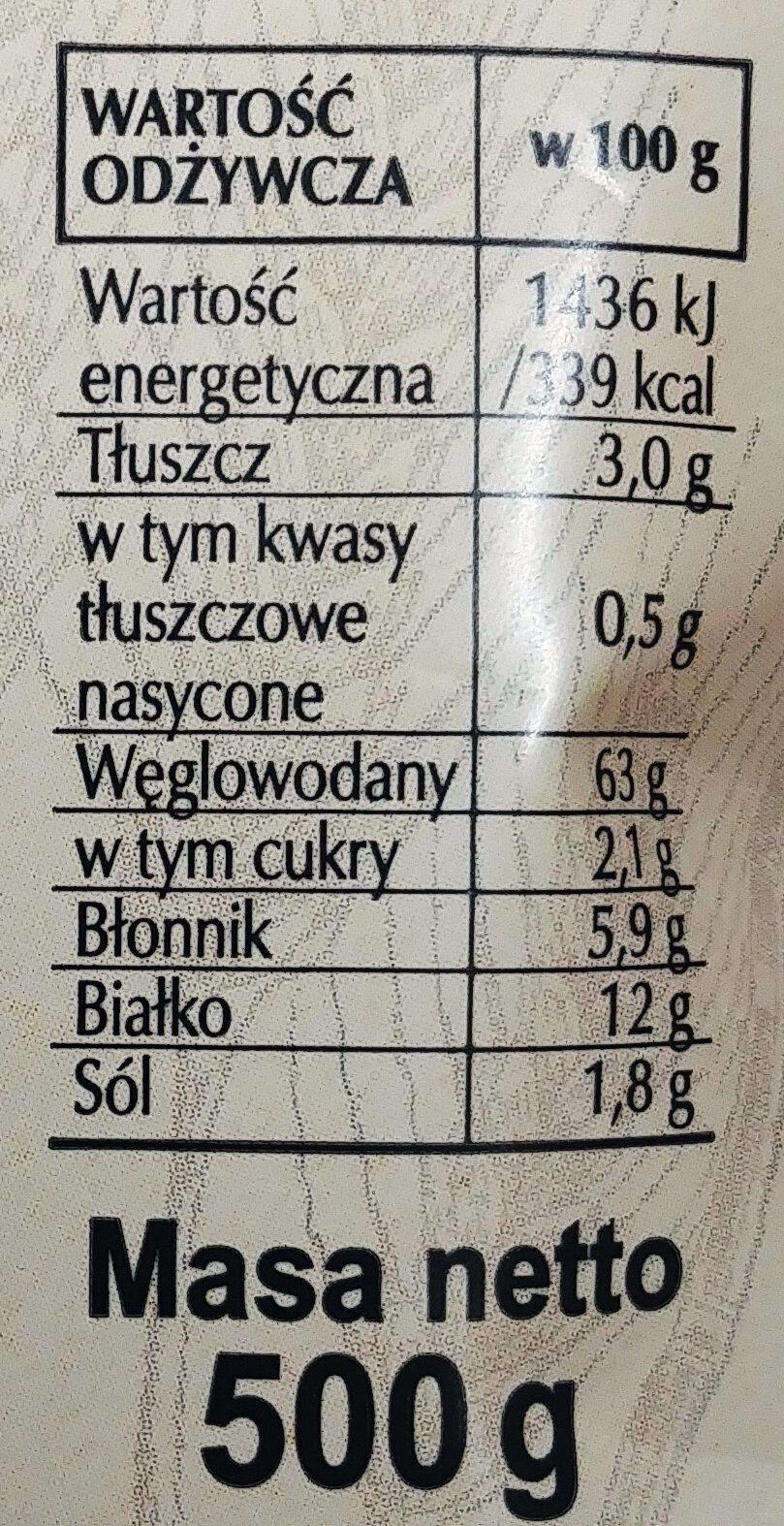 Mieszanka do wypieku chleba żytniego. Chleb żytni. - Nutrition facts