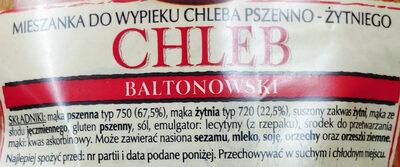 Mieszanka do wypieku chleba pszenno-żytni. Chleb baltonowski - Składniki - pl