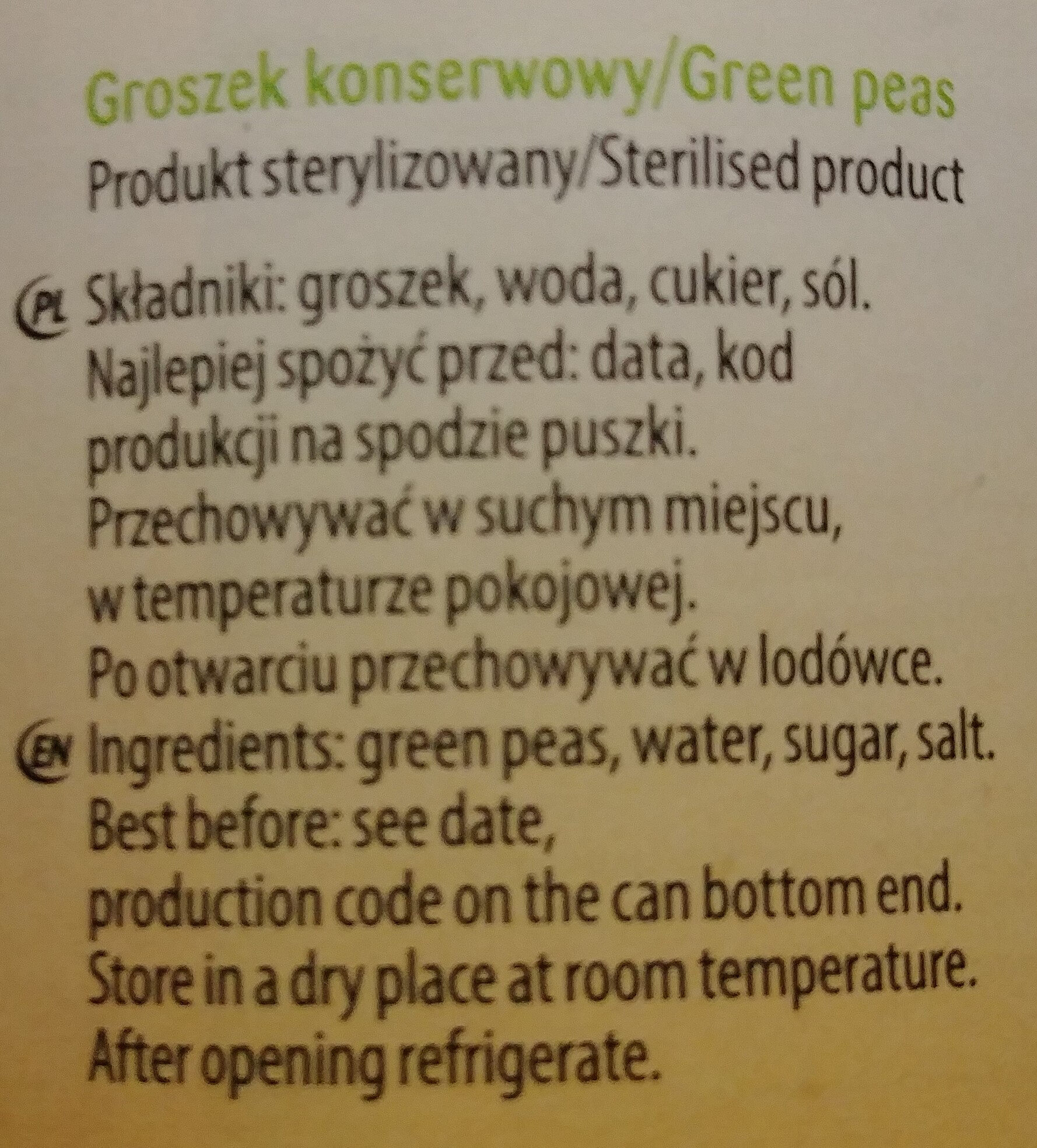Groszek konserwowy - Składniki