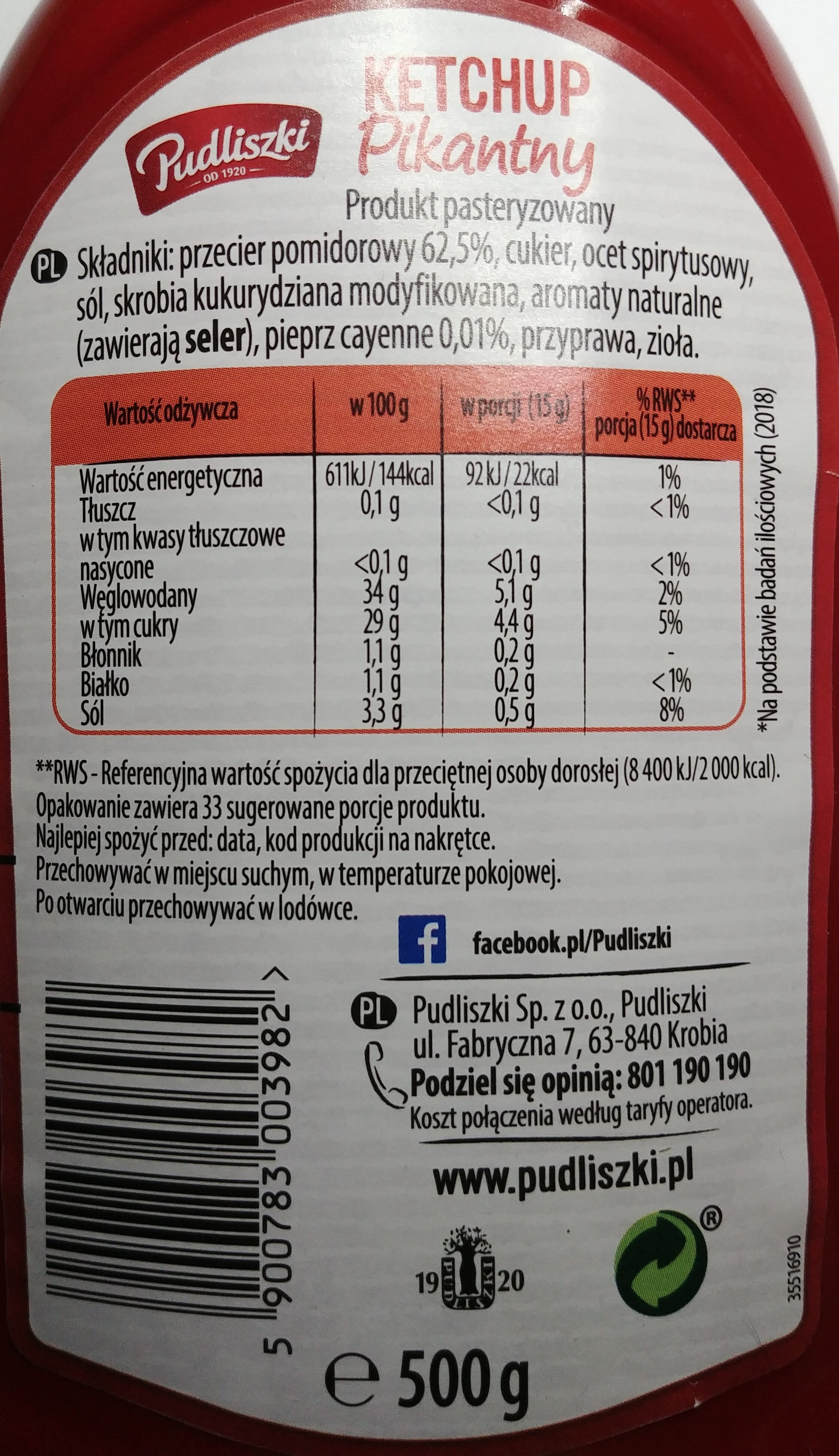 Ketchup pikantny - Informations nutritionnelles