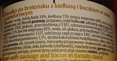 Fasolka po bretońsku z kiełbasą i boczkuem w sosie pomidorowym - Składniki - pl