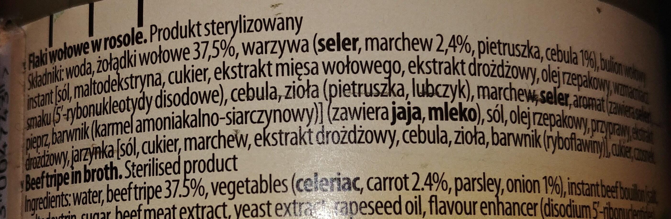 Flaki wołowe w rosole - Składniki - pl