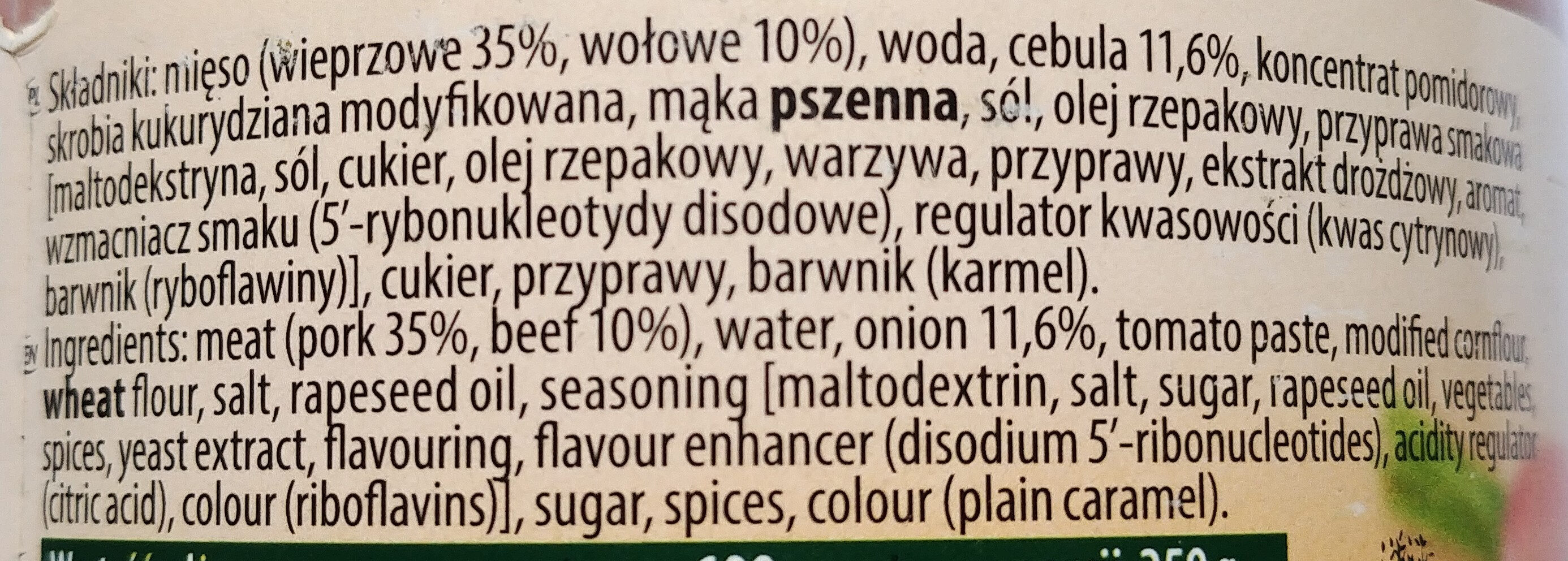 Gulasz wieprzowo-wołowy - Składniki - pl