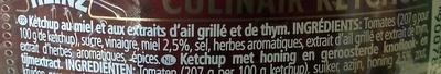 Culinair Ketchup Ail Grille thym et miel - Ingrédients - fr